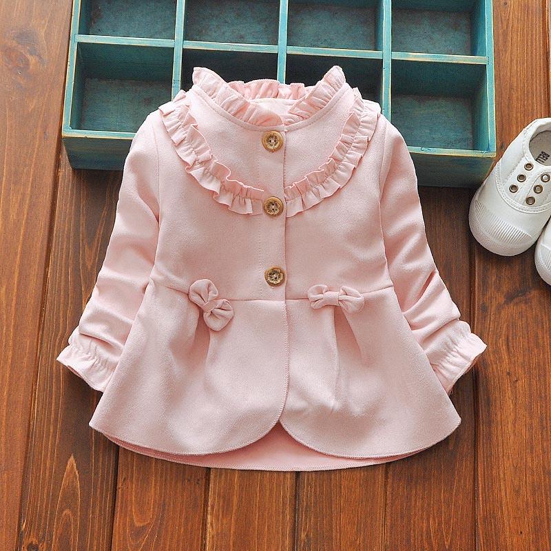цена на 2018 spring Children Roupas Ruffles Girls Jackets Cardigan Baby kids Infants Cotton Long Sleeve Bow Outwear Coat Casaco C033