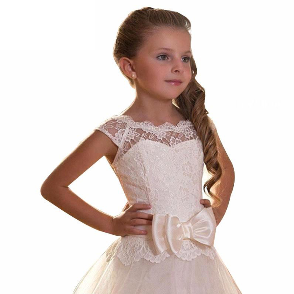 Fancy Flower Girl Dress Open V back holy first communion dresses Lace Up Christmas Little Princess Tiered Ball Gowns kids eyelet lace up open back texture knit sweater