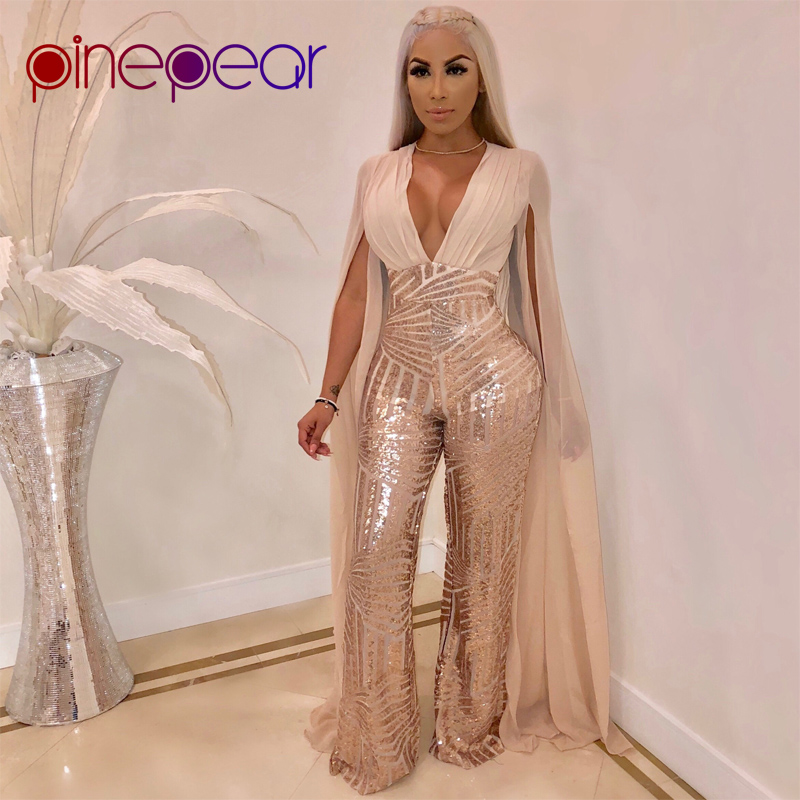 43261b8906f6 PinePear High Street Gold Sequin Jumpsuit 2019 NEW Women Elegant Cloak Sleeve  Deep V Neck Backless Formal Party Romper Wholesale