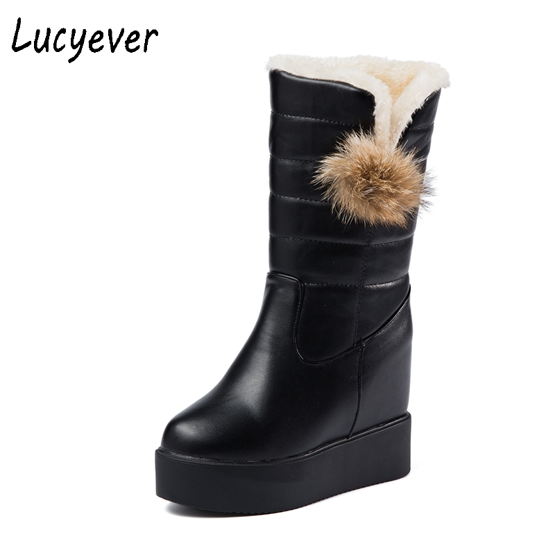 Lucyever Women Snow Boots Wedges Hidden Heels Platform Slip On Winter Boots Super Warm Thick Fur Inside Mid Calf Cotton Boots high quality genuine leather mid calf boot winter slip on warm snow boots women suede thick sole platform invisible wedges shoes