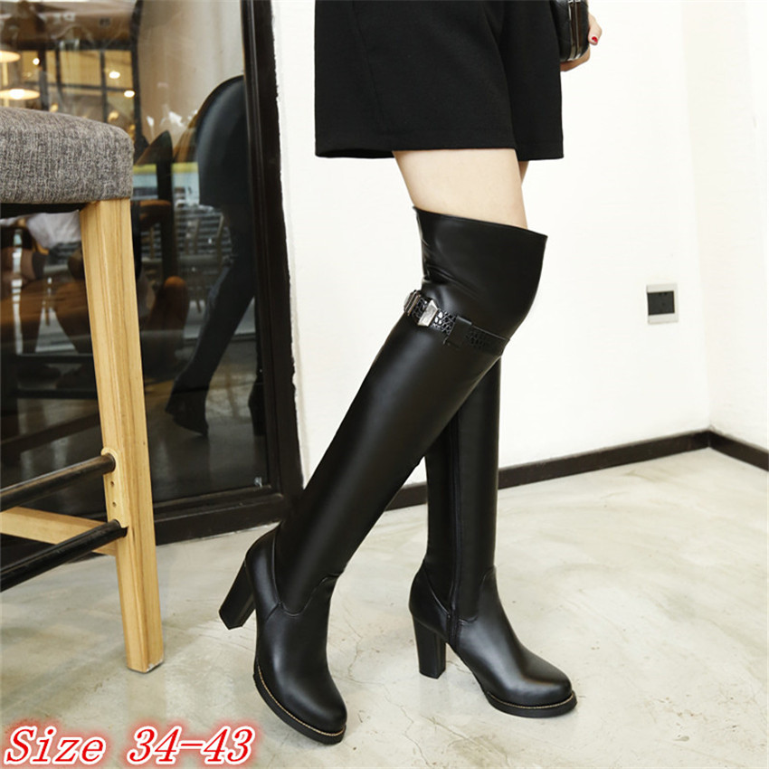 Spring Autumn Leather Women Over the Knee Boots Thick High Heel Woman Thigh High Boots High Quality Plus Size 34-40.41.42.43