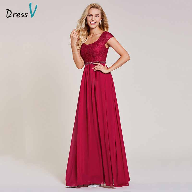 Dressv Burgundy Evening Dress Cheap Scoop Neck A Line Sleeveless Floor Length Beading Wedding Party Formal Dress Evening Dresses