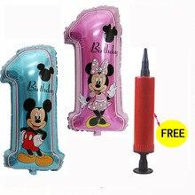 1 шт. большой размер 30 дюймов 1-й День рождения Микки Минни Маус фольга номер 1 воздушный шар розовый/синий день рождения надувной насос для шариков для подарка