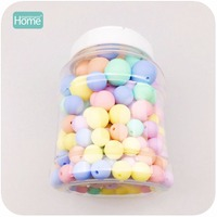 MamimamiHome Drawing Toy Silicone Can Chew Beads Candy Color Set 200pcs Baby Teether DIY Necklace BPA
