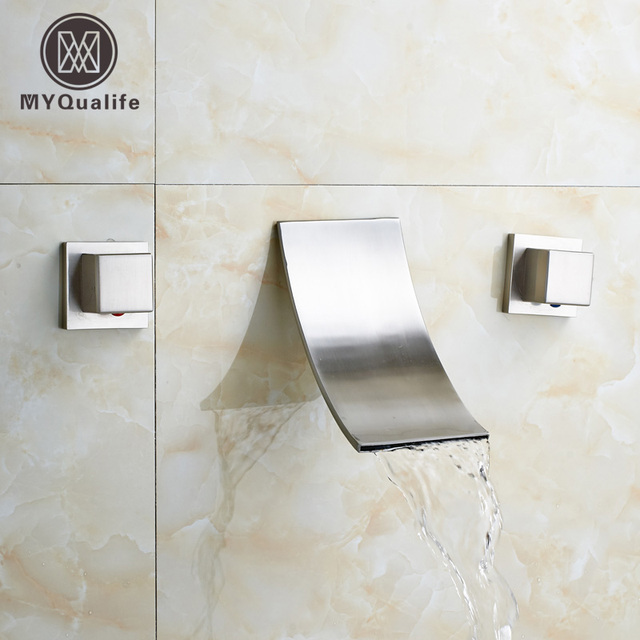 Contemporary Bathroom Waterfall Spout Basin Faucet Two Handle In