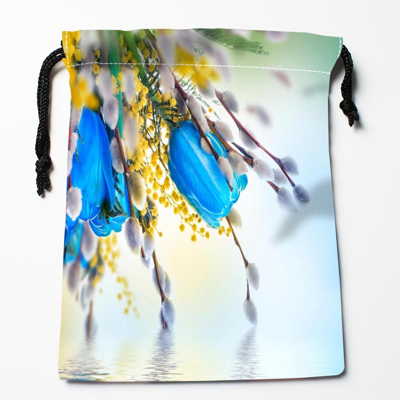 Custom Tulip Flower Drawstring Bags Custom Printed Gift Bags More Size 27x35cm Compression Type Bags