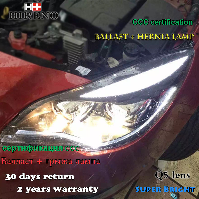 Hireno Headlamp for 2014-2015 Buick Regal Opel Insignia Headlight Assembly LED DRL Angel Lens Double Beam HID Xenon 2pcs 2pcs purple blue red green led demon eyes for bixenon projector lens hella5 q5 2 5inch and 3 0inch headlight angel devil demon