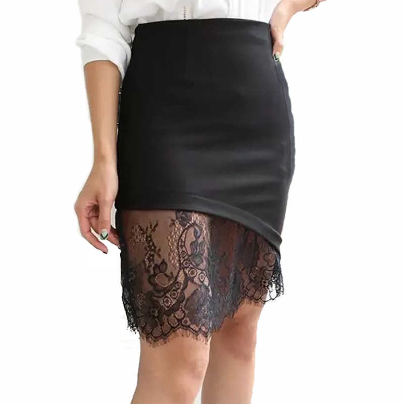 87c0dd62660 Detail Feedback Questions about 2018 women lace skirts s 5xl summer fashion  High waist irregular patchwork lace slim hip female professional skirt Plus  size ...