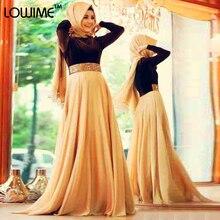Muslim/Arabic Hunter Green/Champagne Evening Dress Long Sleeve Prom Dresses With HiJab DuBai vestido de festa Free Shipping