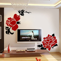Crystal three dimensional wall stickers rose wedding gift home sofa wall mirror stickers 2 rose in 1 set