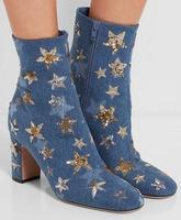 Весна лидер блеск звезд женские стильные ботильоны круглый носок на молнии сбоку женские туфли на высоком каблуке Сапоги и ботинки для дево