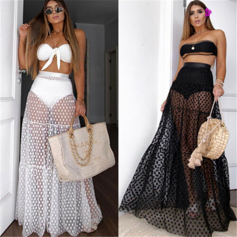 Women Sexy Skirt High Waist Dot Cover-Ups Summer Transparent Long Maxi Skirt Female Beach Mesh Cover Ups