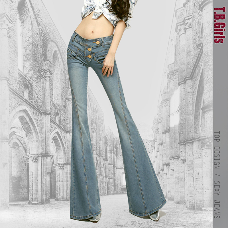 2016 Korean New Fashion Spring and Autumn Jeans for Woman Plus Size Slim Hip High Waist Flare Pants Full Length Denim Jeans 2016 korean new fashion spring and autumn jeans for woman plus size slim hip high waist flare pants full length denim jeans