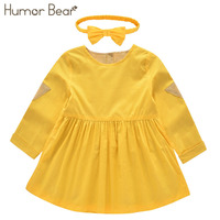 Humor Bear Girls Dress 2017 New Autumn England Style Girls Clothes Long Sleeve Lovely Leisure For