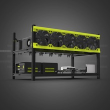V3D6 GPU Mining Rig Aluminum Alloy Stackable Case Up To 6 GPU Open Air Frame Stable Rack Bracket Black