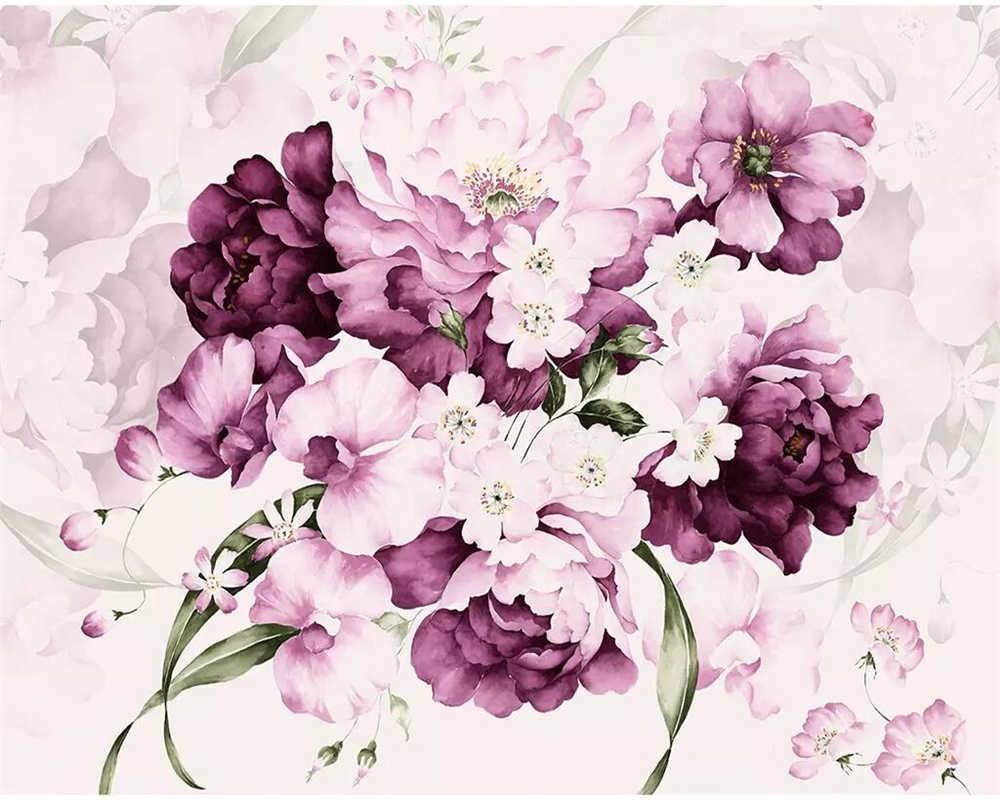 Beibehang Custom Wallpaper Purple Beautiful Hand Painted