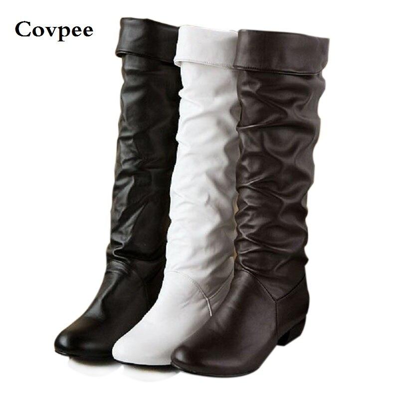 Осень и зима женские сапоги Высокие ноги мотоцикла снегоступы Черный Белый Коричневый 3 цвета обуви оптом Бесплатная доставка