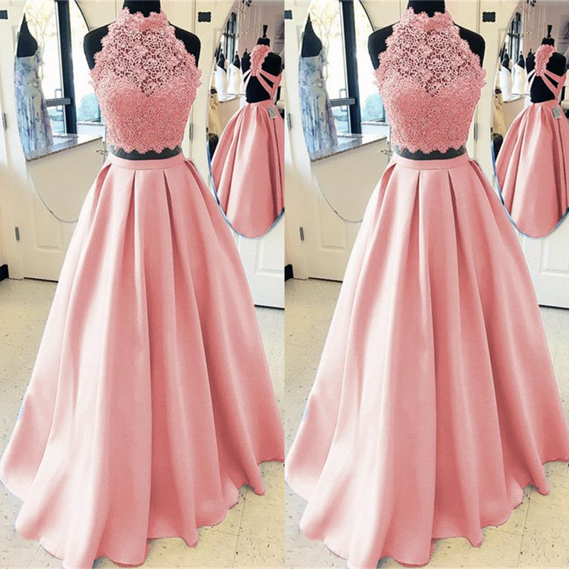 Pink Two Piece   Prom     Dresses   Long 2019 vestidos de fiesta largos elegantes de gala A Line Lace Special Occasion   Dress   Formal Gown