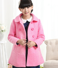 Girls Wool Children Cotton Woolen Coat Kids Clothing Blue Pink Red