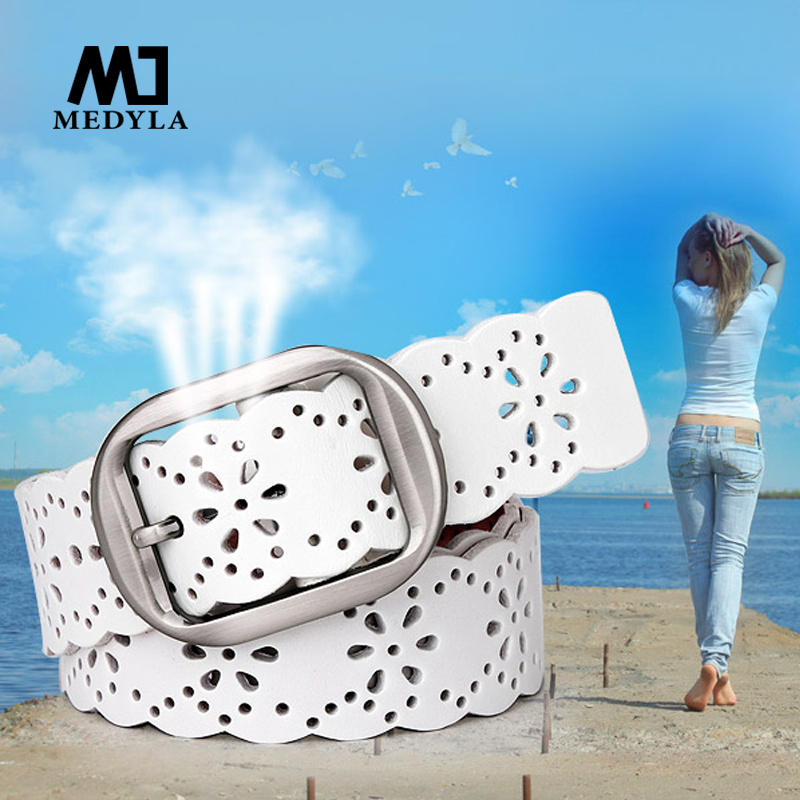 MEDYLA Rushed Mens   Belts   Luxury Free Shipping Pure First Layer Of Cowhide Women's Strap Genuine Leather Cutout Wide Female   Belt