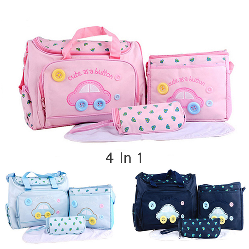 4PCS /set Mother Care Bag Waterproof Large Diaper Bag Organizer For Mummy Bebe Maternity Trolley Baby Bag Backpack Mom Bolso