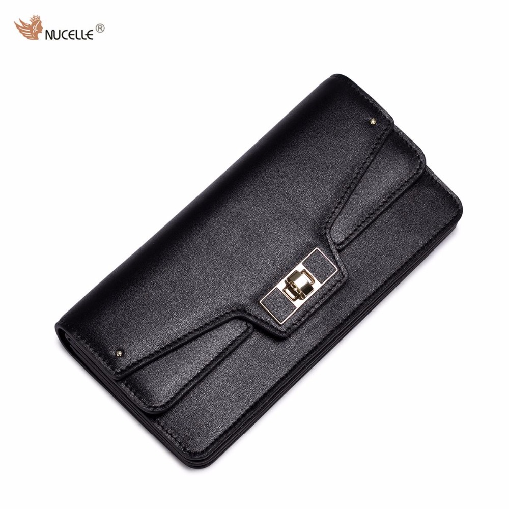 NUCELLE Brand Design Lock Buckle Cow Genuine Leather Long Women Wallets Holders Credit Card Holder Gift For Girl nucelle brand new design french style threads cow leather women lady long wallets clutches cards phone holder