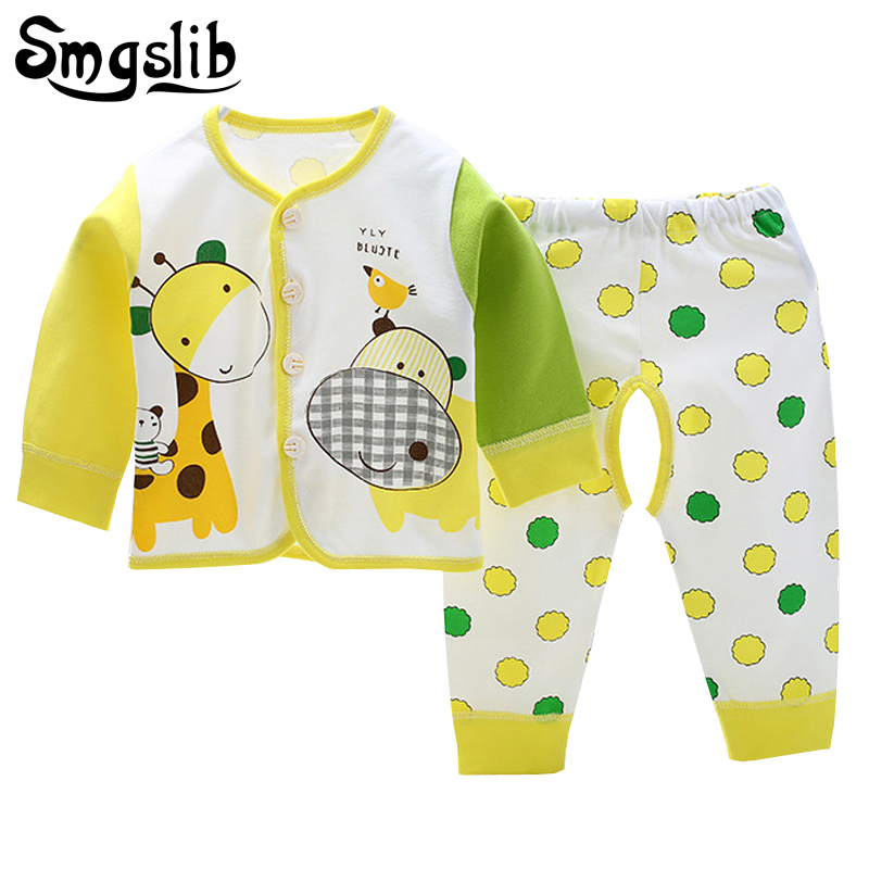 Baby girl clothes Summer Spring Long Sleeve T-shirt+Pant 2pcs Newborn infant suit baby boy clothes Outfit Set underwear 0-9M