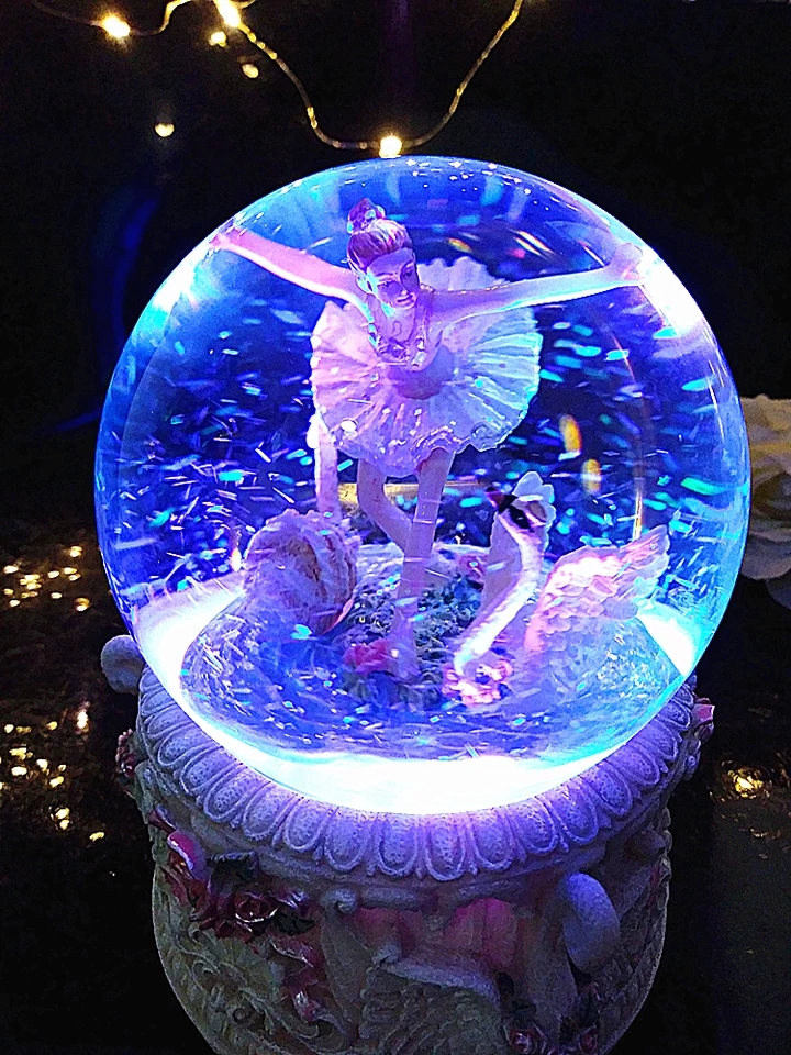 15-18CM High Ballerina Bluetooth Function Snow Globe LEd Light Music Box Home Decor Wedding Christmas New Year Gifts For Girls