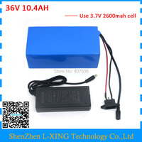 500W 36V li ion battery 36V 10.4AH Electric bicycle lithium battery pack Use for samsung 18650 cells with 15A BMS 2A Charger