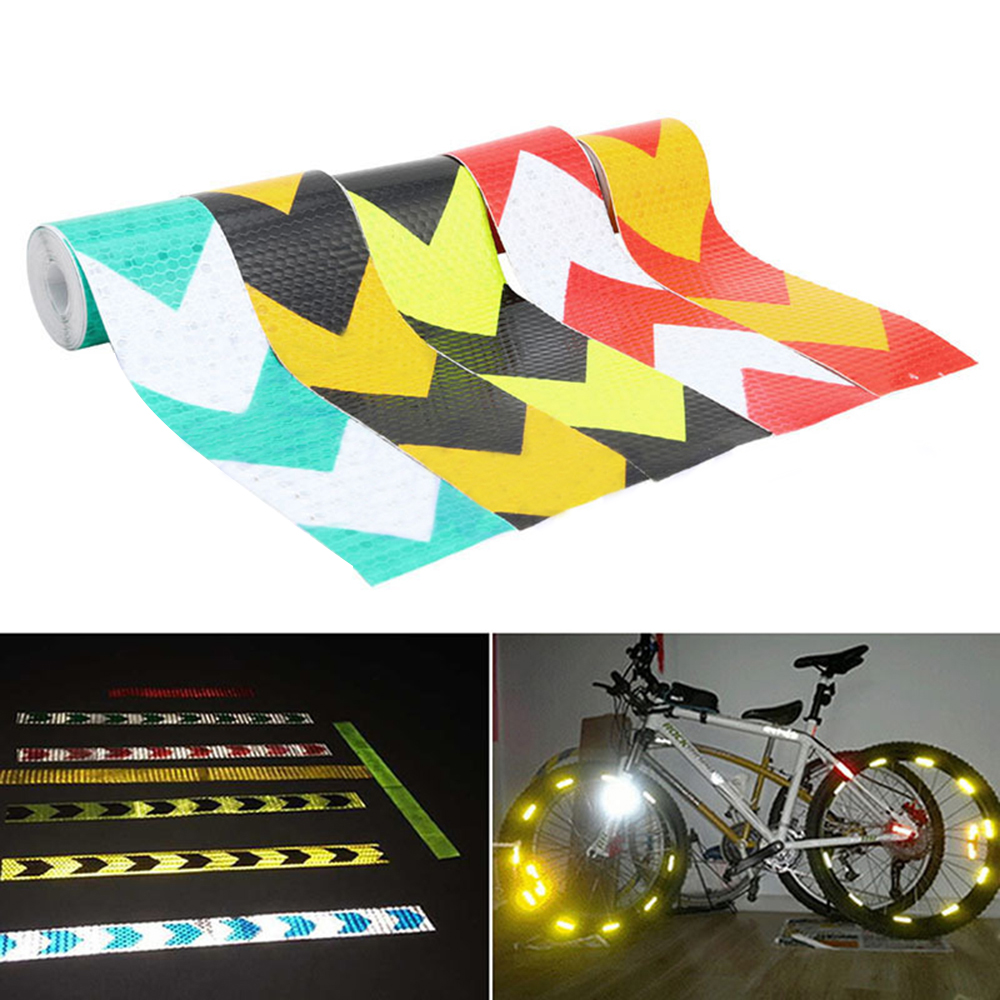 5cm*3m Dual Colors Arrow Lattice Reflective Tape Sticker Car Styling Auto Vehicle Truck Roadway Motorcycle Warning Film