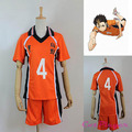 Novo Uniforme Karasuno High School de Vôlei Clube Anime Camisola N ° 4 Haikyuu Yuu Nishinoya Traje Camisola Dos Esportes