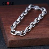Solid S925 silver bracelet Retro Thai silver men jewelry birthday gift 925 sterling silver Buddhism Six words symbol bracelets