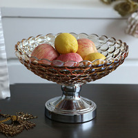 Crystal Glass Fruit Snacks Fruit Candy Pot Home Furnishing Table Decorations European Fashion Gifts Special