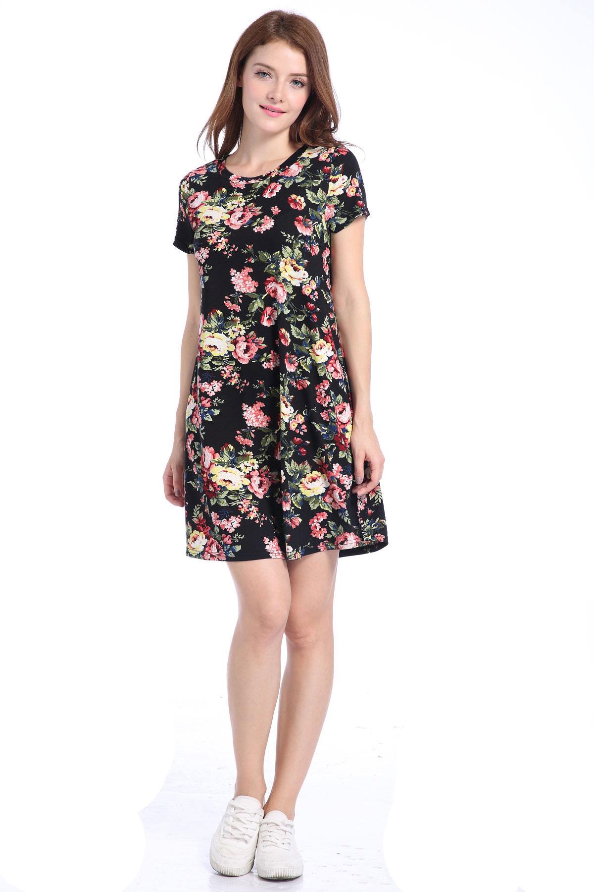 women elegant vintage retro flower floral print dresses o