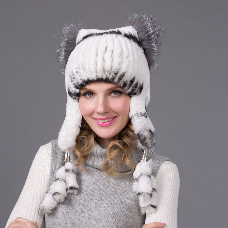 Winter Women Winter Rex Rabbit Fur Hat Earmuffs Cap Knit Aviator Hat 2018 Fashion Casual Fur Hat Quality Nice Party