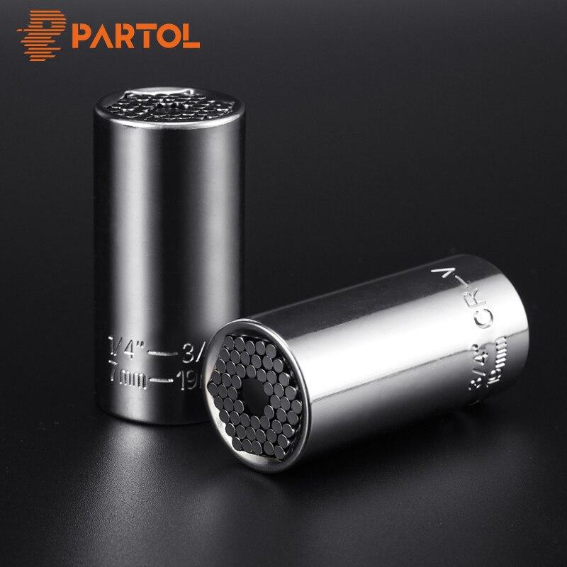 Partol Multi Universal Ratchet Socket 7-19mm Perceuse Adaptateur Clé Dynamométrique Tête Ensemble Manches Clé Clé Grip voiture Outils À Main