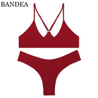 BANDEA Bikini Set 2017 High Quality Swimwear Women Sexy Bikini Brazilian Bikini Solid Color Halter Swimsuit