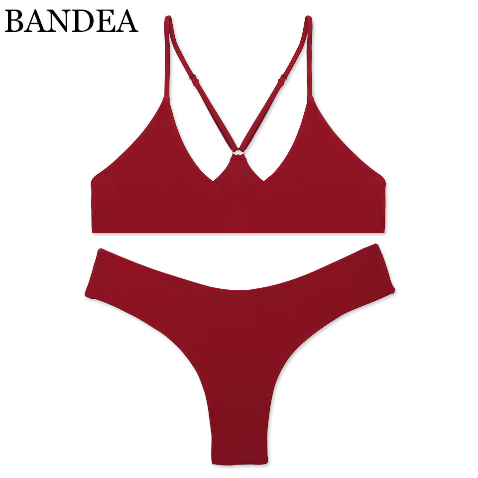 BANDEA Bikini set 2017 High Quality swimwear women sexy bikini brazilian bikini Solid color halter swimsuit biquini Bathint Suit