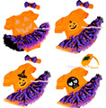 Halloween Orange Bodysuit Jumpsuit Purple Pumpkin Pettiskirt Baby Dress Headband NB-18M MAJS0069