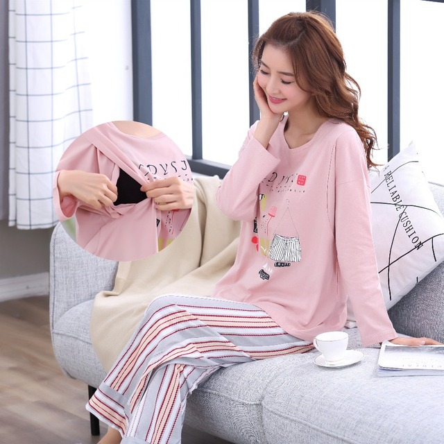 a7f727875146e Breastfeeding pajama breast feeding nightwear maternity pajamas nursing set maternity  nursing sleepwear pregnancy pyjamas winter