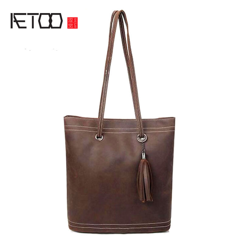 AETOO Women retro shoulder bag fashion handbags Europe and America shoulder bag head layer cowhide mad horse shopping bag aetoo women retro shoulder bag fashion handbags europe and america shoulder bag head layer cowhide mad horse shopping bag