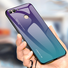 Gradient Tempered Glass Case For Huawei P Smart Plus 2019 Luxury PC Back Cover PSmart Cases