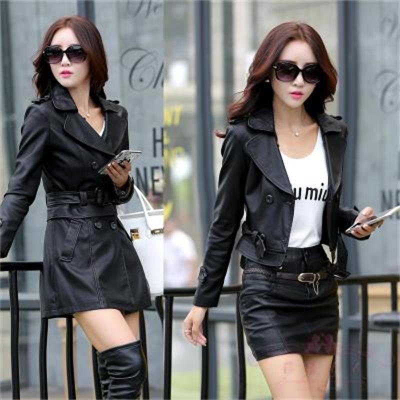 Spring and autumn new fashion   leather   women's long section ladies   leather   windbreaker short section slim jacket women's wild