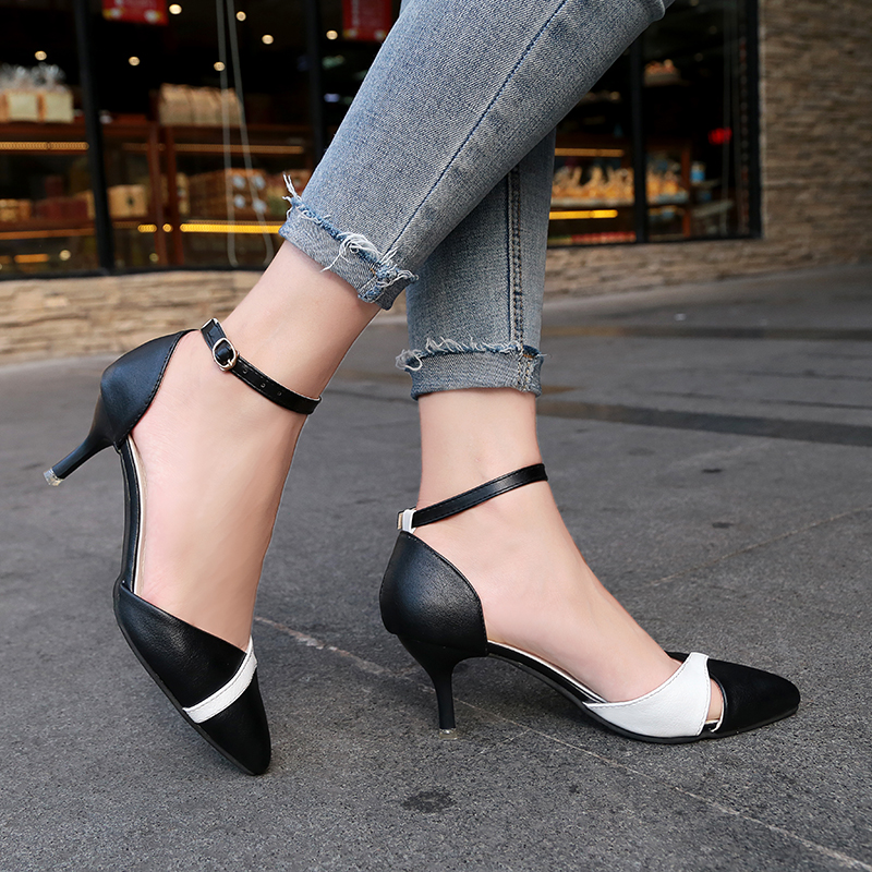 Kjstyrka Elegant 2018 Spring Black White Women Pumps Thin High Heels Shoes office ladies Sandals pointed toe zapatos mujer Strap rizabina vintage spring women wedge pumps elegant slip on high heels shoes pointed toe ladies zapatos mujer shoes size 33 43