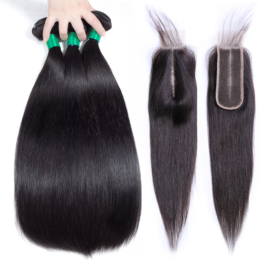 Gabrielle Hair Brazilian Straight Human Hair Bundles with 2x6 Lace Closure 100 Remy Hair Bundles with