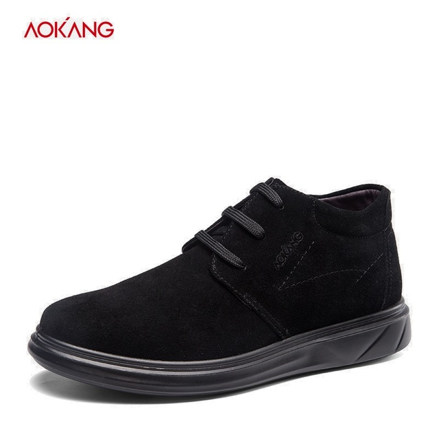AOKANG 2018 Winter High Quality Men Brogue Shoes Cow Suede Lace up Business Shoes Men Classic Europe Luxury Gentry Style shoes