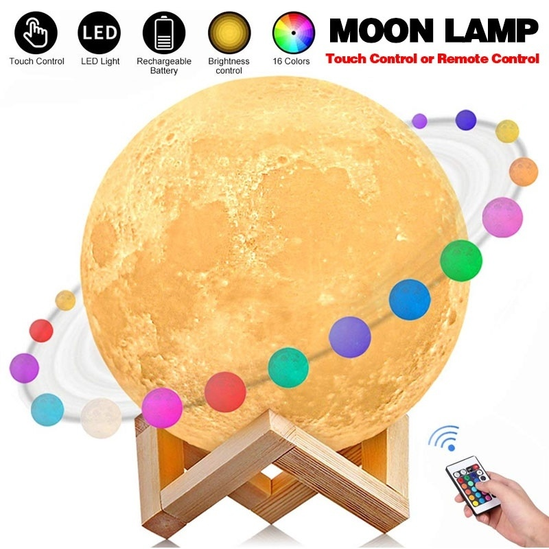 8/10/13/15/18/20 CM Moon Lamp, 16 Colors LED 3d Print Moon Light With Stand & Remote&Touch Control And USB Rechargeable