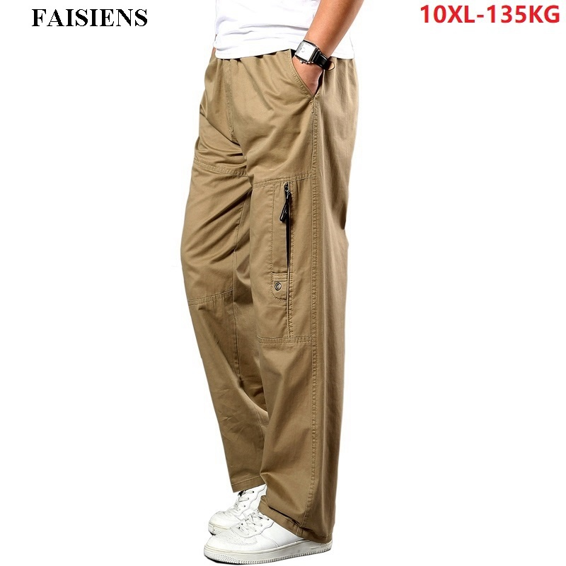 Men Cargo Pants Stretch Straight Trousers Autumn Khaki Large Size Big 5XL 7XL 8XL 9XL 10XL Pocket Military Safari Casual Pants