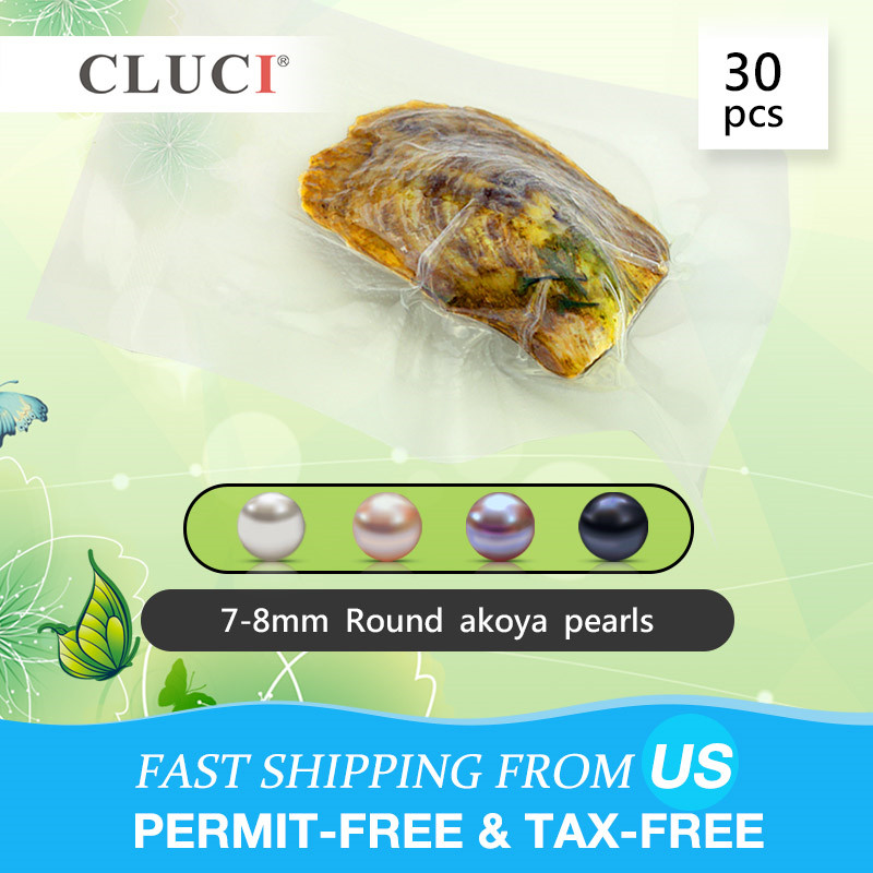 CLUCI 30pcs Wish Pearl Oyster 7 8mm Round Akoya Pearl in Oysters Natural Saltwater Oysters with Pearls