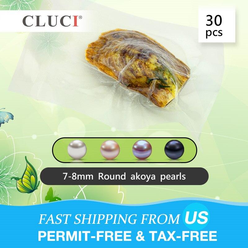 CLUCI 30 sztuk życzenie Pearl Oyster 7 8mm okrągły Akoya Pearl w ostrygi naturalne ze słoną wodą ostrygi z perły w Koraliki od Biżuteria i akcesoria na  Grupa 1